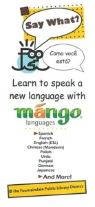 Say What -- Mango Languages -- Front of Brochure